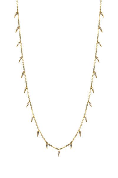 Sydney Evan - Yellow Gold Pavé Fringe Drop Necklace