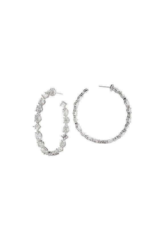 Nam Cho 18K White Gold Multi Shape Diamond Hoop Earrings