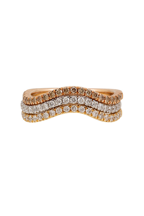 Sandy Leong 18K Yellow, White & Rose Gold Wave Stack Rings