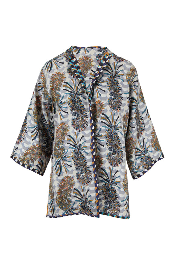 Etro Multicolor Printed Reversible Silk Jacket