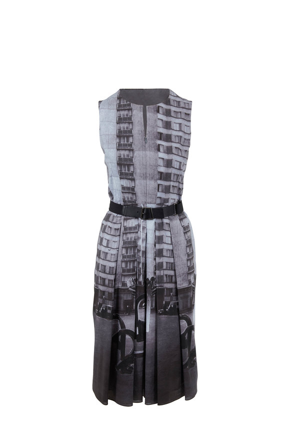 Akris Magnet Photo Print Cotton Sleeveless Dress