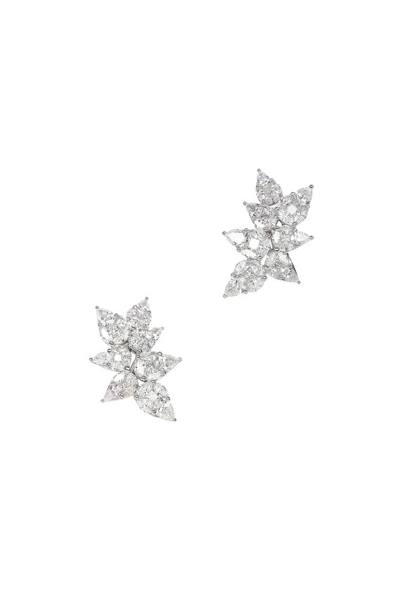 Nam Cho 18K White Gold Invisible White Diamond Earrings