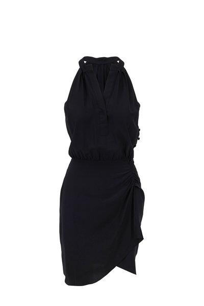 Nili Lotan - Collins Black Crepe De Chine Halter Dress