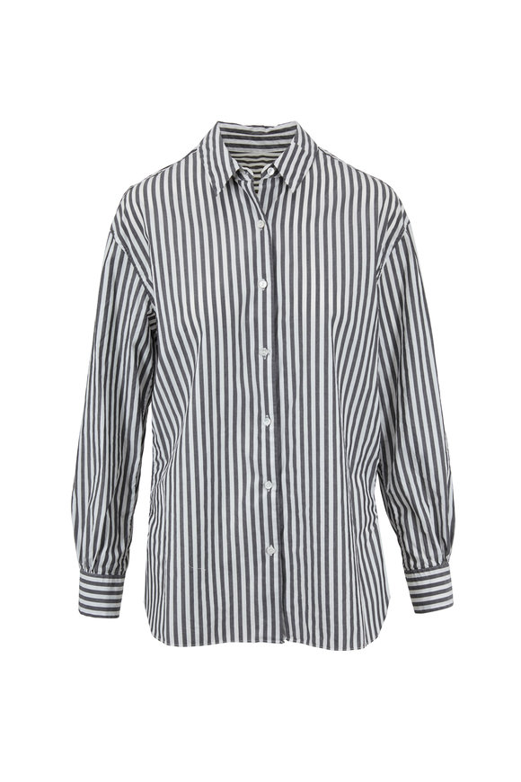 Nili Lotan Noa Washed Black Striped Cotton Shirt