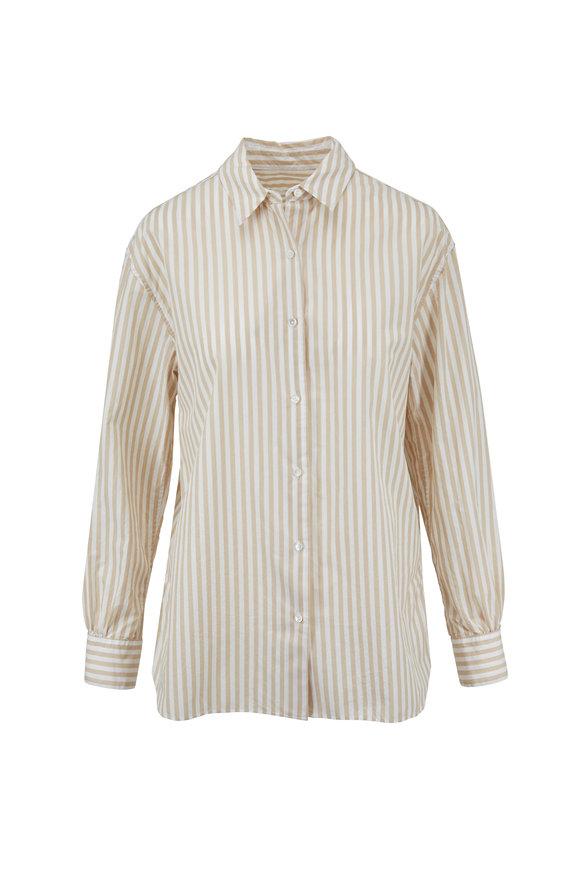Nili Lotan Noa Tan Striped Cotton Shirt