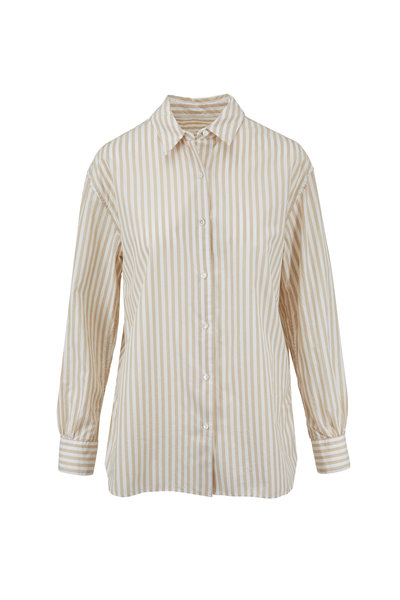 Nili Lotan - Noa Tan Striped Cotton Shirt