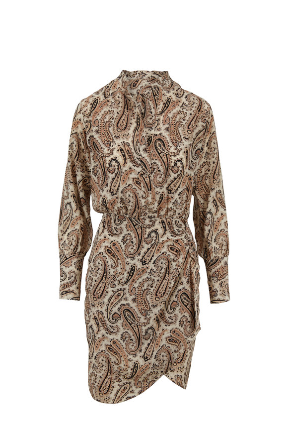 Nili Lotan Leora Black & Beige Paisley Silk Dress