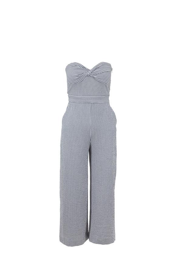 Veronica Beard Serild White & Gray Seersucker Strapless Jumpsuit