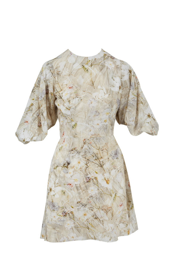 Alexander McQueen Ophelia Print Ivory Crepe De Chine Poet Dress