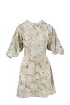 Alexander McQueen - Ophelia Print Ivory Crepe De Chine Poet Dress