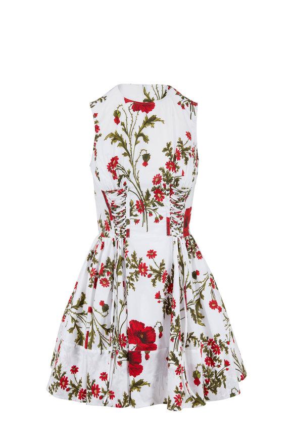 Alexander McQueen Ivory Poplin Poppy Print Mini Dress
