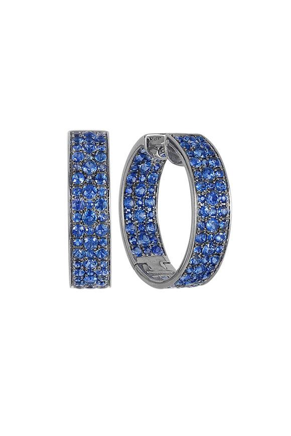 Nam Cho 18K White Gold Modern Blue Sapphire Hoop Earrings