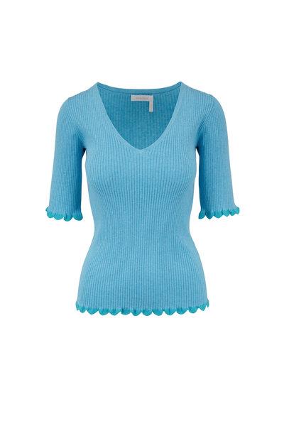 See by Chloé - Breezy Blue Ribbed V-Neck Sweater