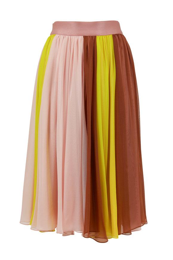 Cushnie Lime, Cola, & Pink Flowy Silk Skirt