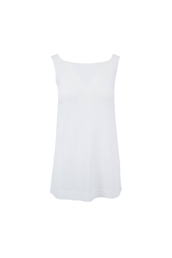 D.Exterior White Square Neck Tank