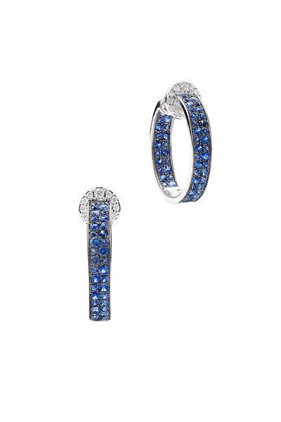 Nam Cho - 18K White Gold Modern Sapphire Hoop Earrings