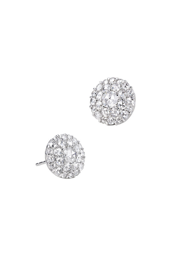 Nam Cho 18K White Gold Diamond Post Earrings
