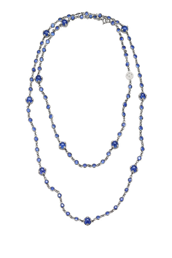 Nam Cho 18K White Gold Blue Sapphire Necklace