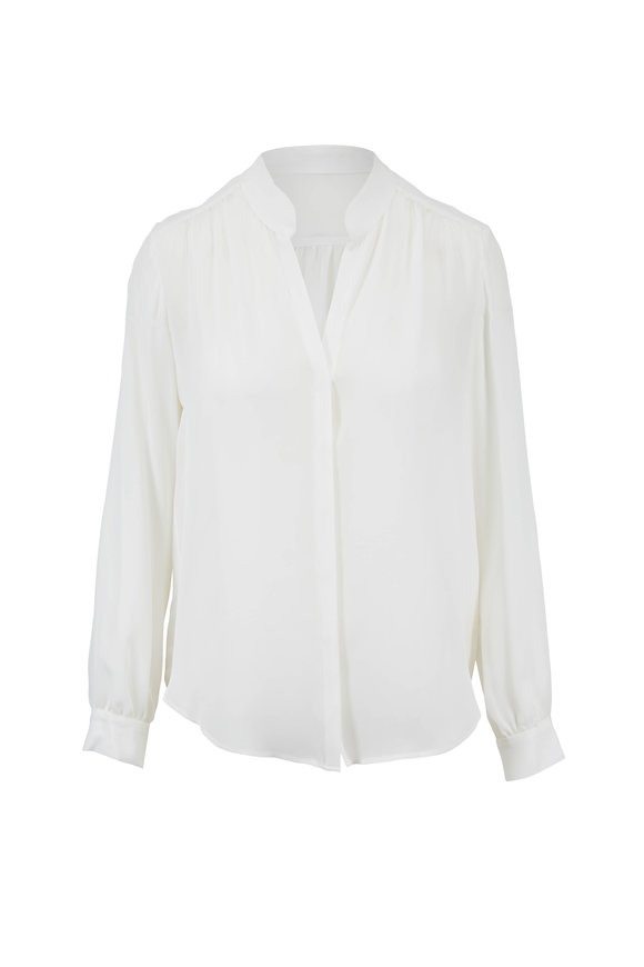 L'Agence Bianca Ivory Silk Banded Collar Blouse