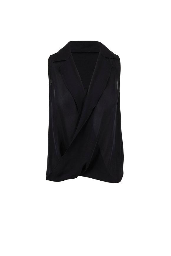 L'Agence Freja Black Silk Draped Blouse
