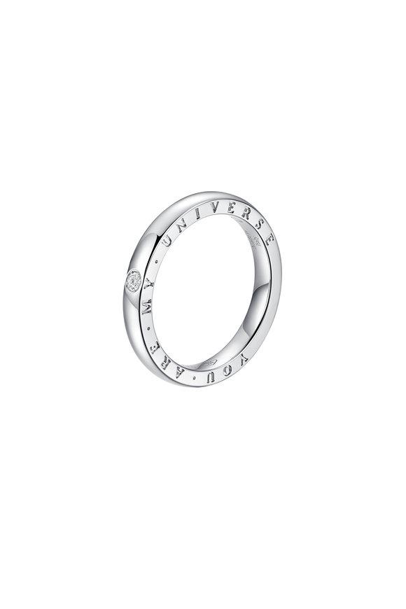 Alberto Milani 18K White Gold Diamond Dirce Wedding Band, 2.5mm