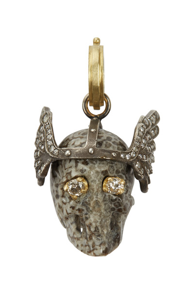Sylva & Cie - 18K Gold & Silver Coral & Diamond Skull Pendant