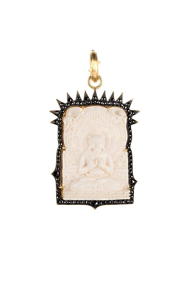 18K Gold Black Diamond Ivory Buddha Pendant