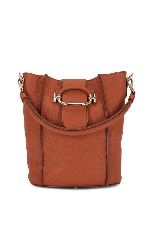 Tod's Brick Grained Leather Small Bucket Bag
