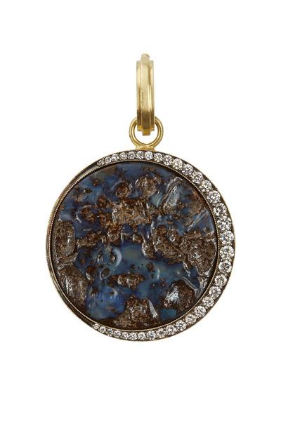 Sylva & Cie - 18K Yellow Gold Opal Moonscape Diamond Pendant