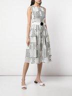 Akris Punto - White & Black Window Dot Belted Dress