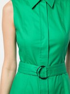 Akris Punto - Emerald Green Stretch Poplin Belted Shirtdress