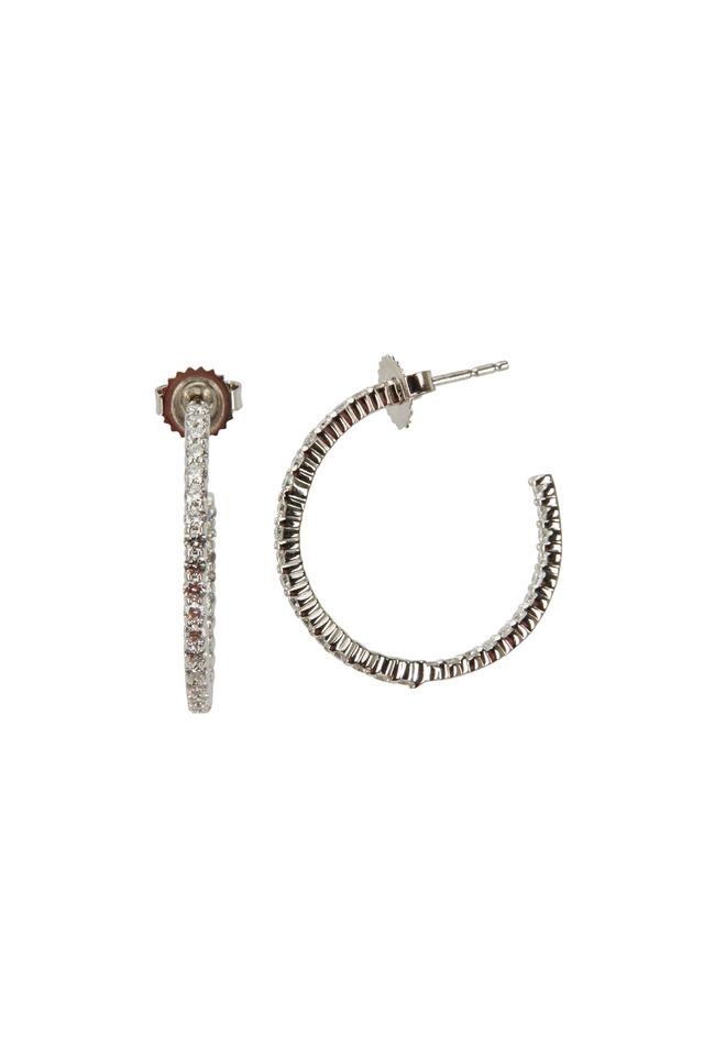 White Gold White Diamond Hoop Earrings