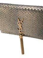 Saint Laurent - Kate Gold Metallic Textured Suede Chain Crossbody