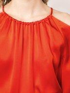 Rosetta Getty - Poppy Satin Cold Shoulder Top