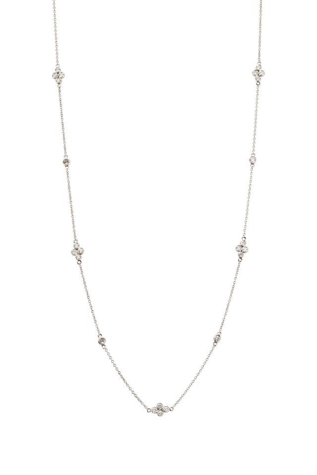 White Gold White Diamond String Necklace
