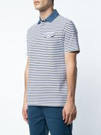 Michael Bastian - White & Navy Striped Denim Collar Polo