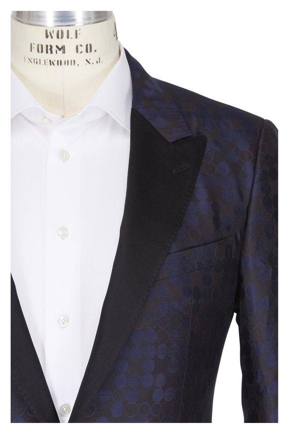 Lanvin Black & Navy Circle Pattern Slim Fit Jacket