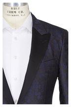 Lanvin - Black & Navy Circle Pattern Slim Fit Jacket