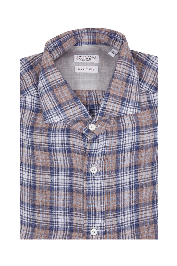 Brunello Cucinelli Navy Blue Linen Plaid Basic Fit Sport Shirt