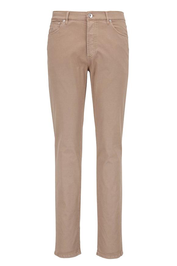 Brunello Cucinelli Tan Stretch Cotton Traditional Fit Jean