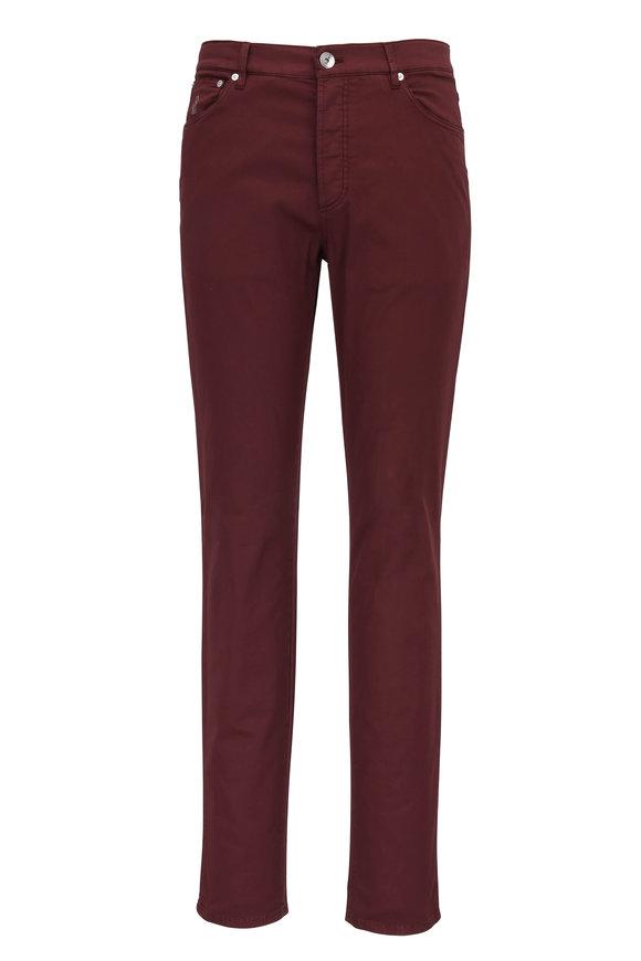 Brunello Cucinelli Wine Stretch Cotton Five Pocket Jean