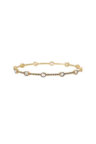 Sylva & Cie - Yellow Gold White Diamond Caviar Bangle Bracelet