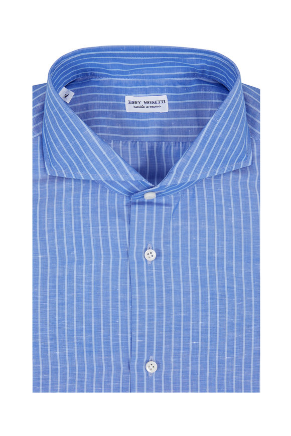 Eddy Monetti Medium Blue Striped Cotton & Linen Sport Shirt