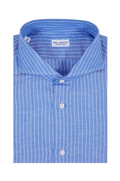 Eddy Monetti - Medium Blue Striped Cotton & Linen Sport Shirt