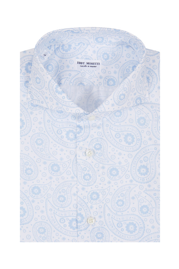 Eddy Monetti Light Blue Paisley Printed Sport Shirt