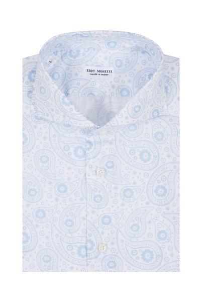 Eddy Monetti - Light Blue Paisley Printed Sport Shirt