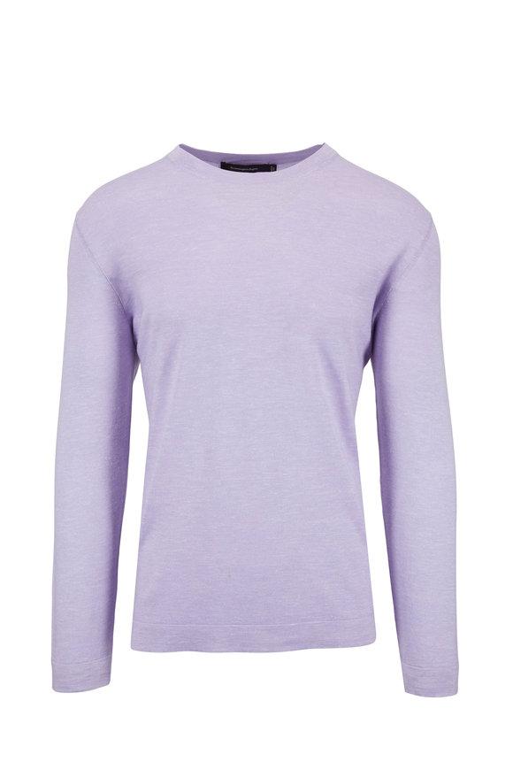 Ermenegildo Zegna Lavender Cashmere, Silk & Linen Crewneck Pullover
