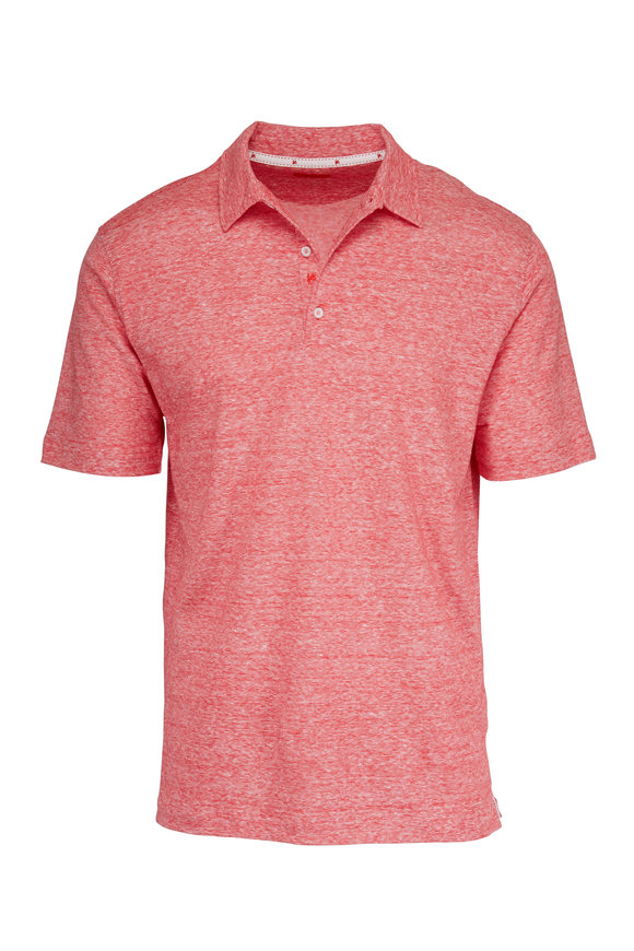 Isaia Red Linen & Cotton Polo