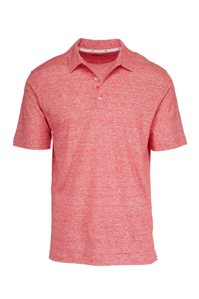 Isaia - Red Linen & Cotton Polo