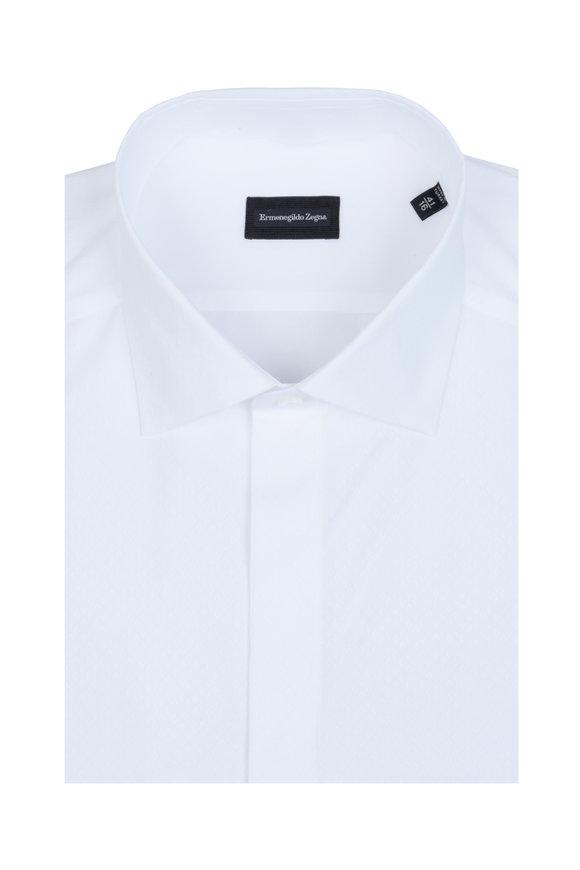 Ermenegildo Zegna White Jacquard Diamond Dress Shirt
